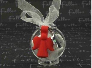 Boite ronde garnie de dragées avec ange porte clef