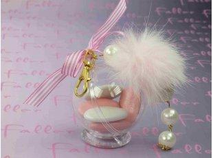 Porte clef boule rose et  avec boule blanche & rose