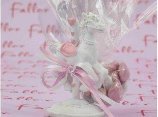 Dragées baptême fille et cheval à manège rose