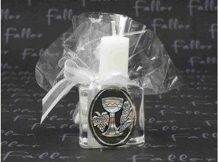 Porte-bougie symbole calice avec dragées communion