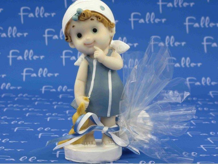 Dragées baptême avec figurine fille et son doudou