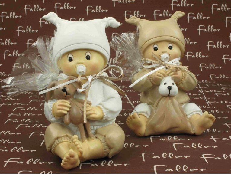 Tirelires bébés blanc et taupe avec dragées baptême