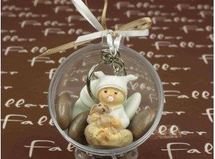 Porte-clés bébé avec doudou et boule plexi baptême taupe