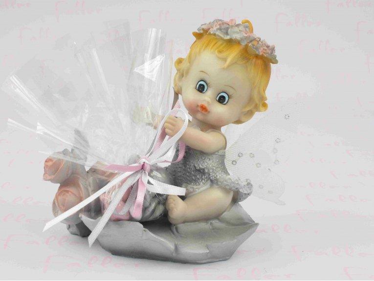 Figurine bébé elfe avec dragées baptême fille thème fleurs