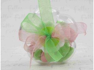 Boite dragées fleur pour baptême fille pastel