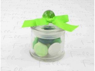 Bonbonnière à dragées confettis vert baptême garçon