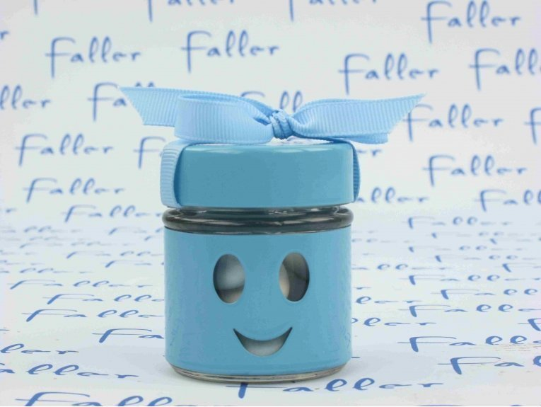 Pot smiley bleu contenant à dragées baptême garçon