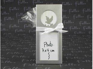 Cadre photo gris vertical colombe dragée communion fille ou garçon
