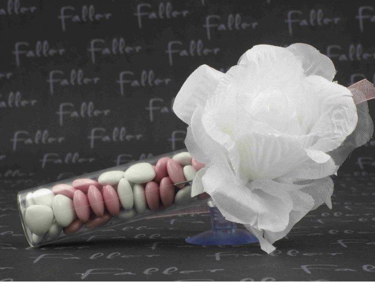 Éprouvette pour communion avec rose blanche