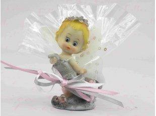 Figurine bébé elfe fille avec dragées baptême