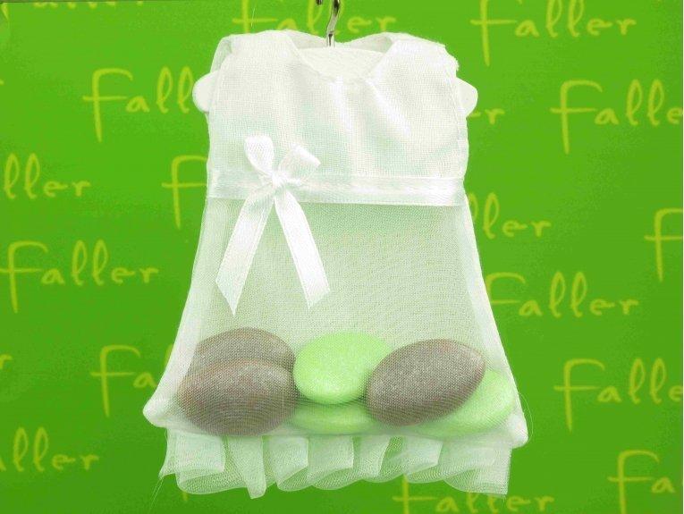 Robe contenant à dragées baptême fille tissu et tulle blanc