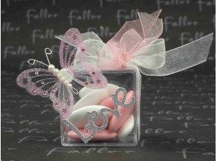 Boite dragées mariage stickers papillon et love argenté