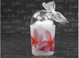 Photophore mariage fleurs roses avec contenant dragées