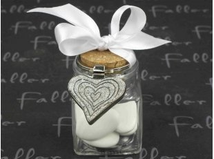 Bocal dragées mariage en verre et porte-clés cœur pailleté