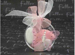 Boite à dragées mariage avec papillon pailleté rose et perles
