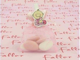 Pochon de baptême fille avec sa petite pince à linge bébé
