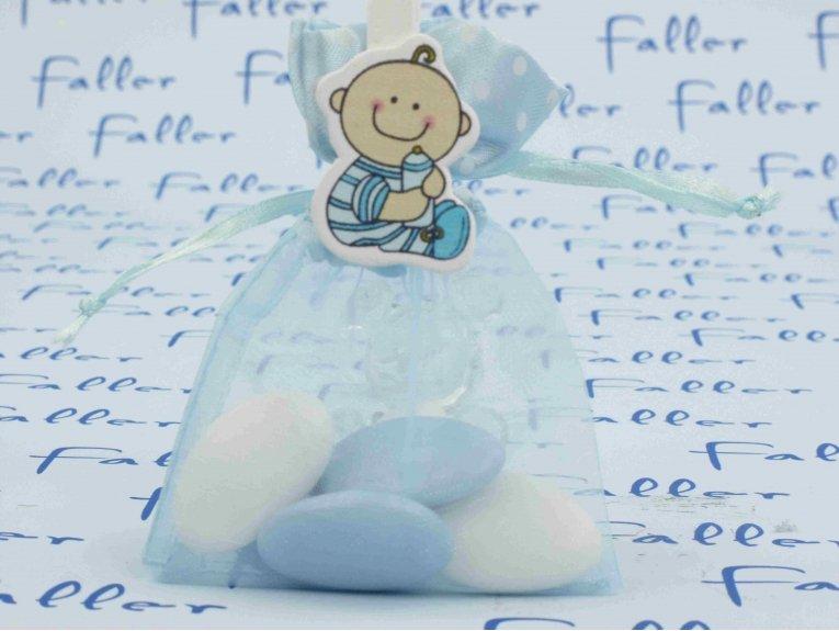 Pochon de baptême garçon avec sa petite pince à linge bébé