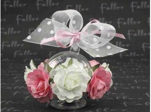 Boule à fleurs roses et blanche et dragées mariage