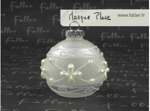 Marque-place mariage boule avec perles fleurs et paillettes