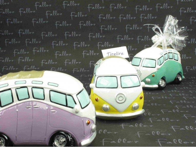 Tirelire Volkswagen combi violet et ses dragées
