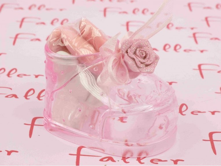 a94090ae23487 Contenant à dragées baptême chausson plastique rose