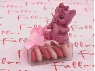 Boite à dragées avec son éléphanteau rose