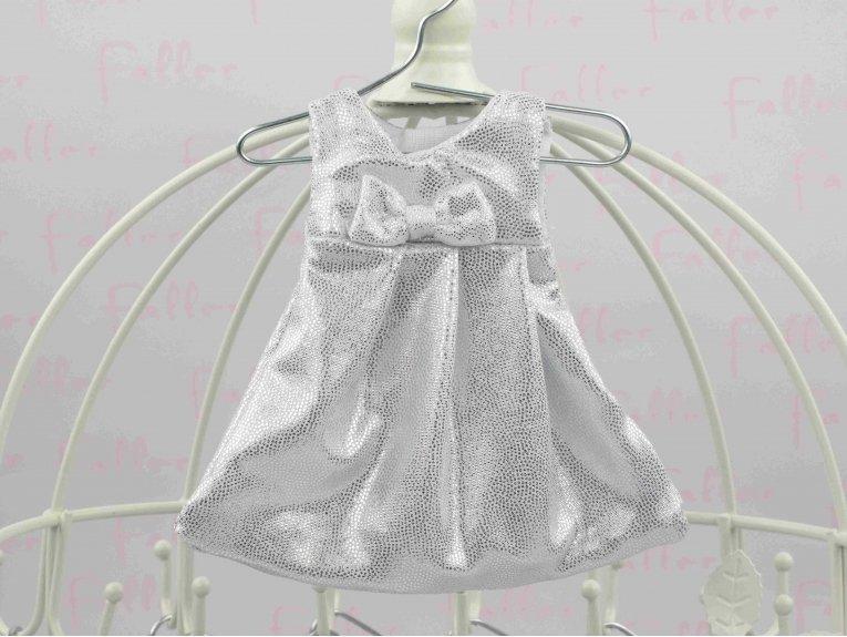 Robe argentée avec dragées de  baptême pour fille