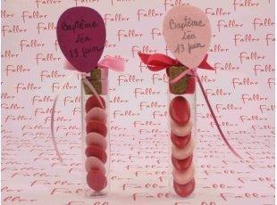 Éprouvette ballon rose et fuchsia avec dragées fille