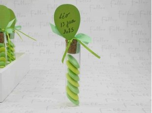 Éprouvette ballon anis avec dragées chocolat