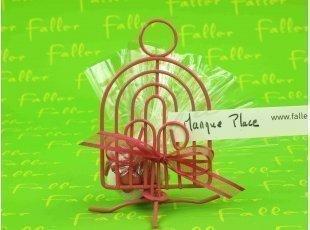 Cage à oiseau métal fuchsia porte-nom