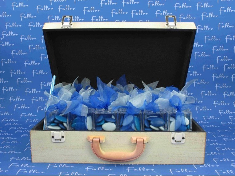Presentoir valise bleue