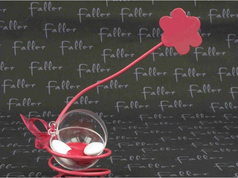 Fleur fuchsia porte-nom ressort avec dragées