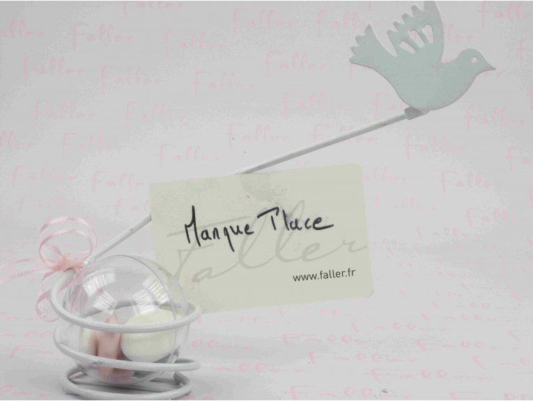 Marque-place colombe blanche et ses dragées