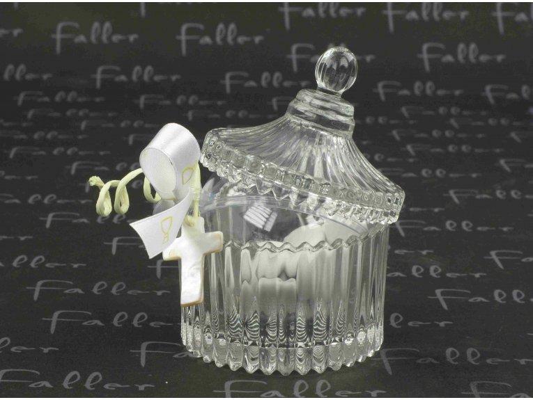 Bonbonnière vintage avec croix nacrée de communion