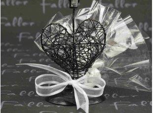 Porte-photo cœur noire avec dragées mariage