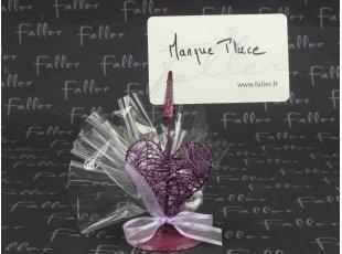 Porte-photo cœur violet avec dragées mariage