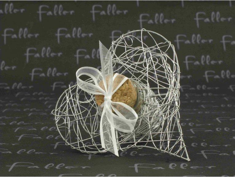 Éprouvette cœur argenté avec dragées mariage