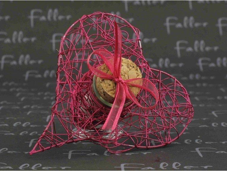 Éprouvette cœur fuchsia avec dragées mariage