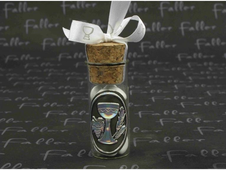 Eprouvette avec écusson en étain calice pour communion