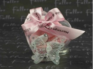 Boîte dragées coeur avec papillon