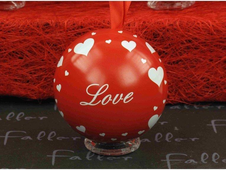 Contenant boule rouge avec coeurs