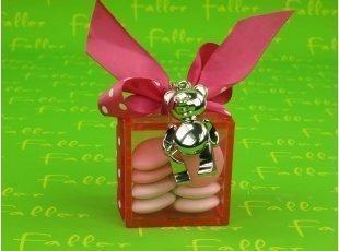 Boite contenant dragées carrée rose