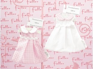 Robe col claudine ass vichy rose et blanche