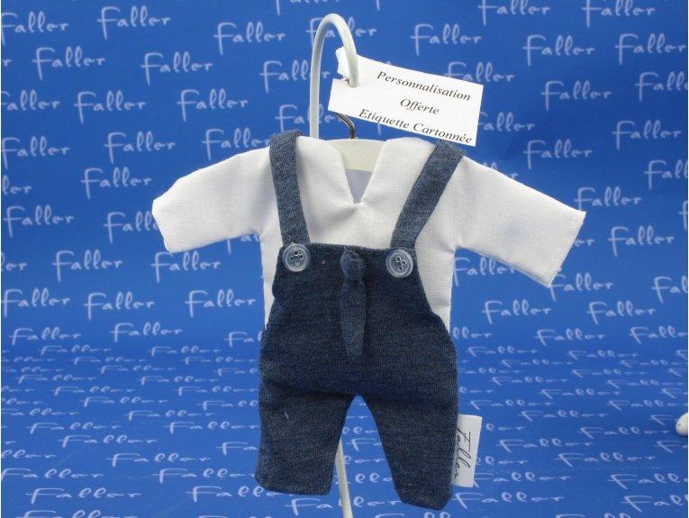Salopette bleue avec cravate et dragées de baptême