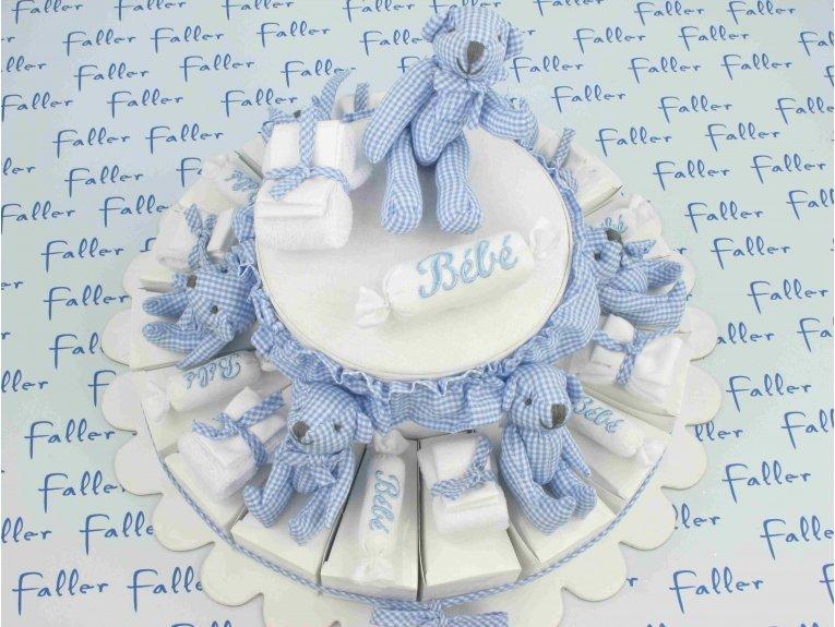 Dragées avec gâteau bleu vichy garçon