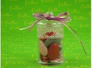 Bonbonniere avec dentelle fuschia rose lilas
