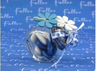 Mini bocal à bonbon ou dragées - Baptême thème fleurs