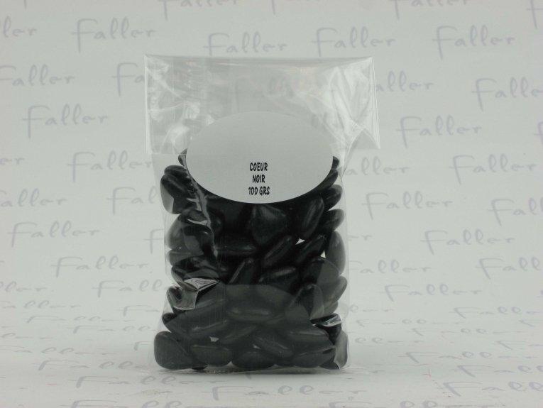 Dragées mini-coeur noir  (100 grs)
