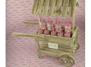 Bocal avec paille garni de dragées rose et blanc