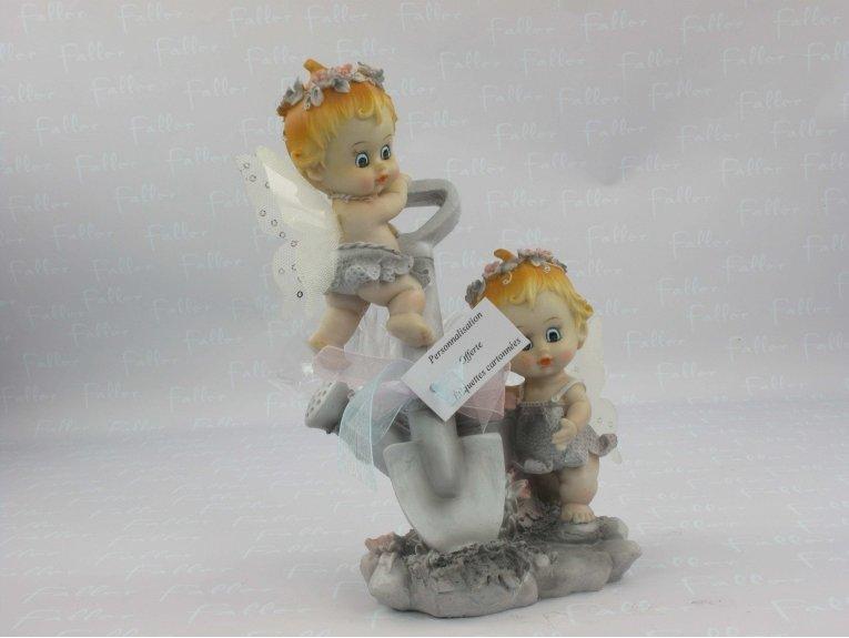 Souvenir de baptême jumeaux avec dragées